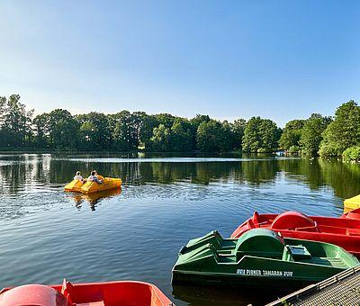 Die Osnabrücker Rund-Tour verknüpft einige der besten Ausflugsziele der Friedensstadt Osnabrück mit reizvollen Naturerlebnissen im UNESCO Natur- und Geopark TERRA.vita. Zu den Highlights der 48 km langen kompakten Radrundfahrt im Osnabrücker Land gehört auch der Rubbenbruchsee mit seinem Tretbootverleih.