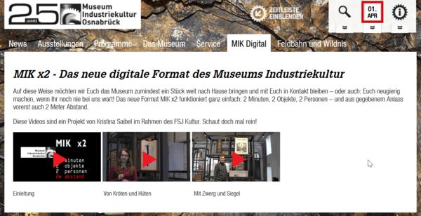Digitale Kulturangebote in Osnabrück - Screenshot Homepage Museum Industriekultur Osnabrück
