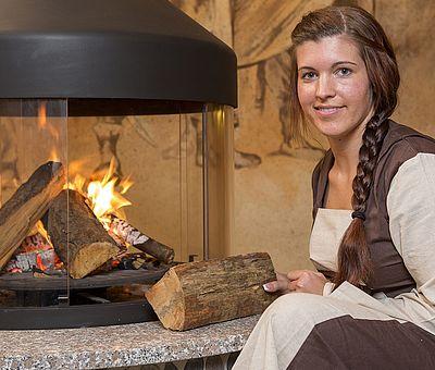 Feuerstelle in der Sauna im Alfen Saunaland in Rieste