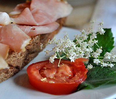 Holunderblüten verwendet man in Bad Essen gerne zur Dekoration von Gerichten.
