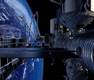 Auf diesem Foto bekommt man einen Einblick, was man durch die VR-Brille beim VR-Schnorcheln im Nettebad sehen kann. Es handelt sich um einen Ausschnitt des Weltalls. Links hinten im Bild ist die Erde zu erkennen. Man kann den Himmel mit weißem Nebel oder auch Wolken sehen. Rechts vor der Weltkugel fliegt ein Satellit. Als Flügel des Satelliten sind Solarpatten angebracht. Neben dem Flügel ist aus Aluminium eine lange, breite Ziehharmonika-Stange zu erkennen. Oberhalb der Stange ist aus Aluminium ein Trichter zu sehen.