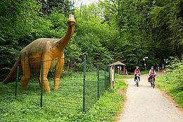 Radfahrer bei den Saurierspuren im UNESCO Global Geopark in Bad Essen Barkhausen