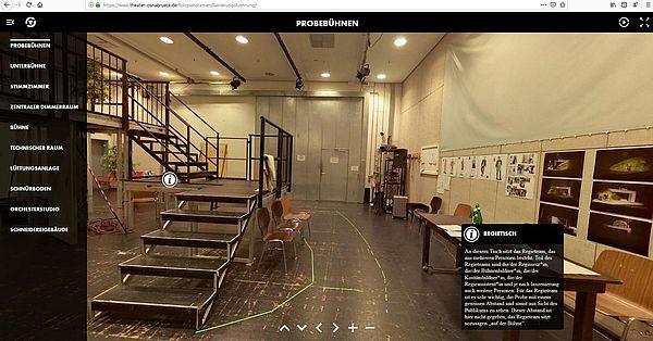 Digitale Kulturangebote in Osnabrück - Screenshot Rundgang bei den Städtischen Bühnen Osnabrück